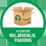 Vi bruger kun genbrugsemballage eller emballage af genbrugsmaterialer.
